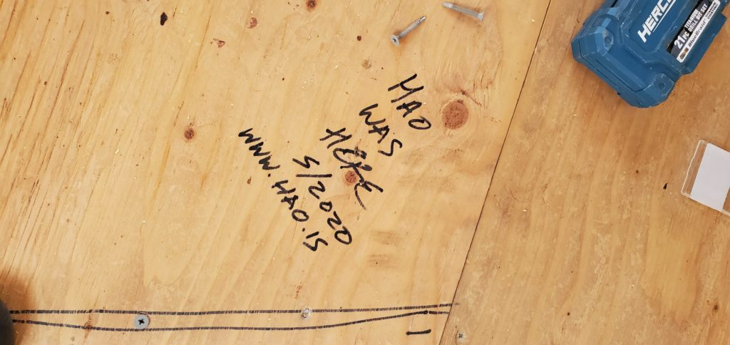 hao was here plywood floor backing