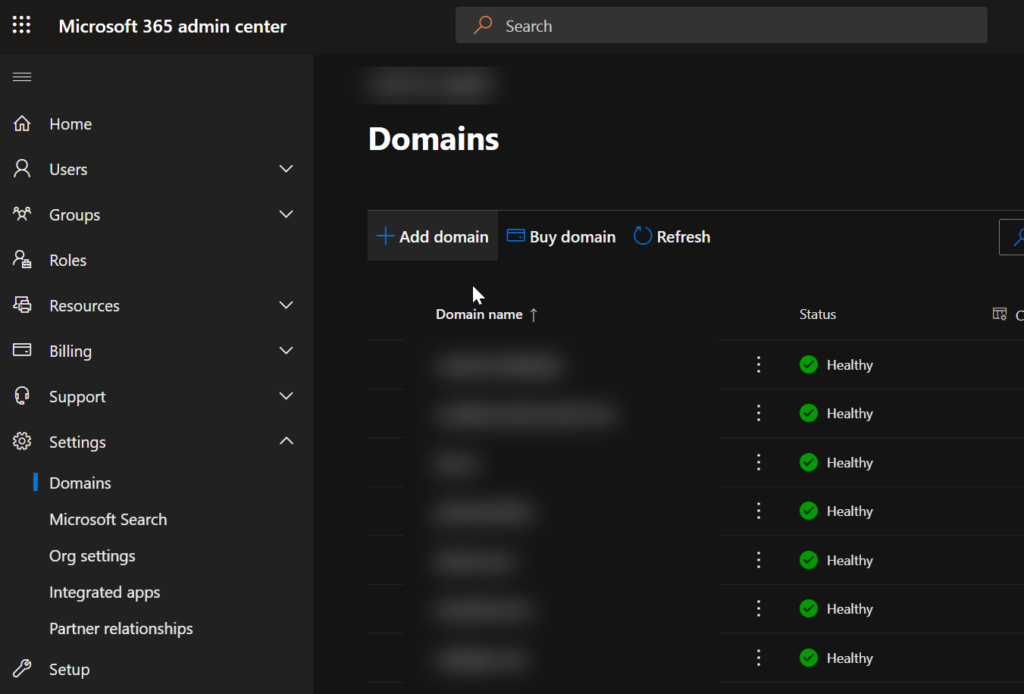 office 365 admin center domains
